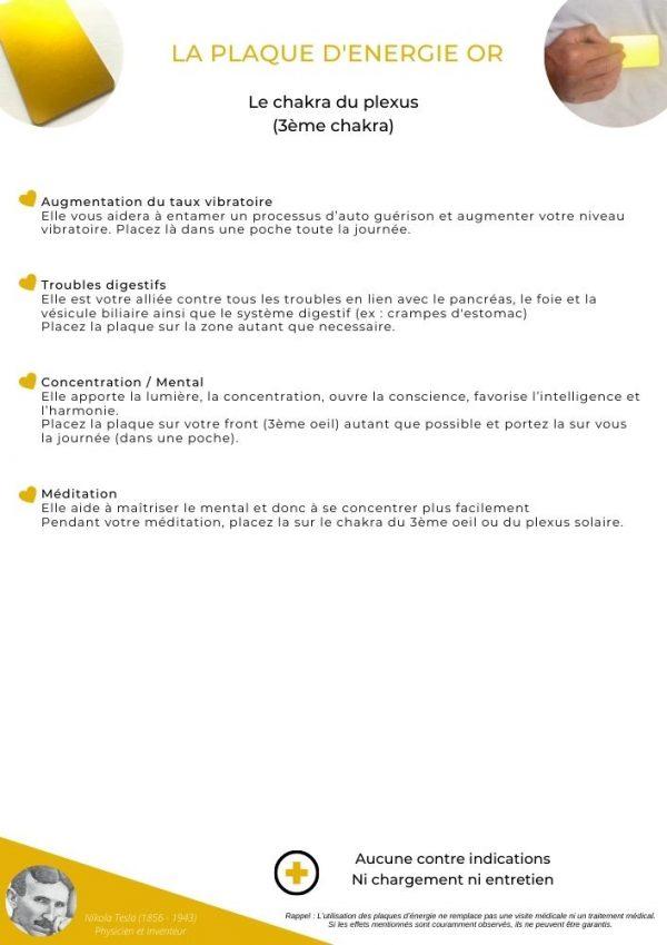 guide d'utilisation de la plaque or