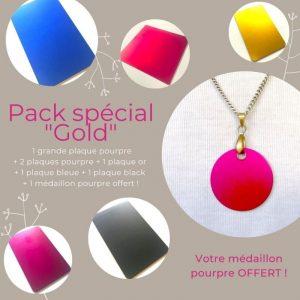 Pack spécial «gold» : 1 grande plaque pourpre + 5 plaques (CB) + 1 médaillon pourpre offert !