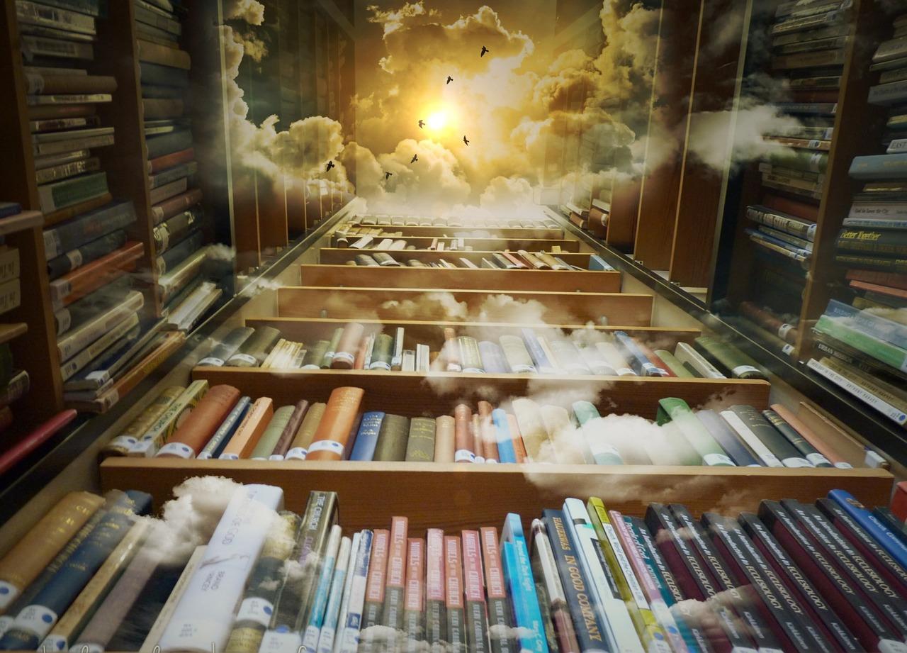 bibliothèque de livres et ciel